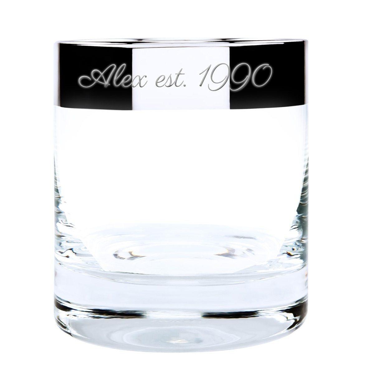Edles Whiskyglas mit echtem Silberrand