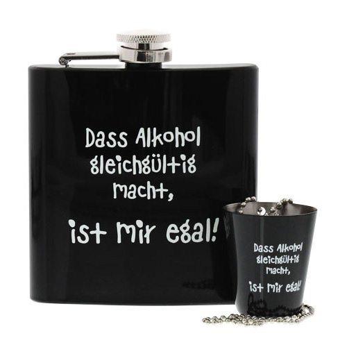 "Flachmann-Set ""Alkohol macht gleichgültig"""