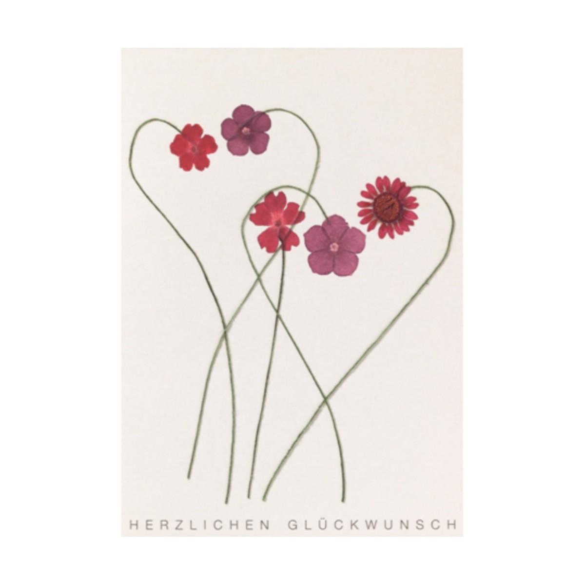"""Grußkarte """"rote Herzblüten"""""""