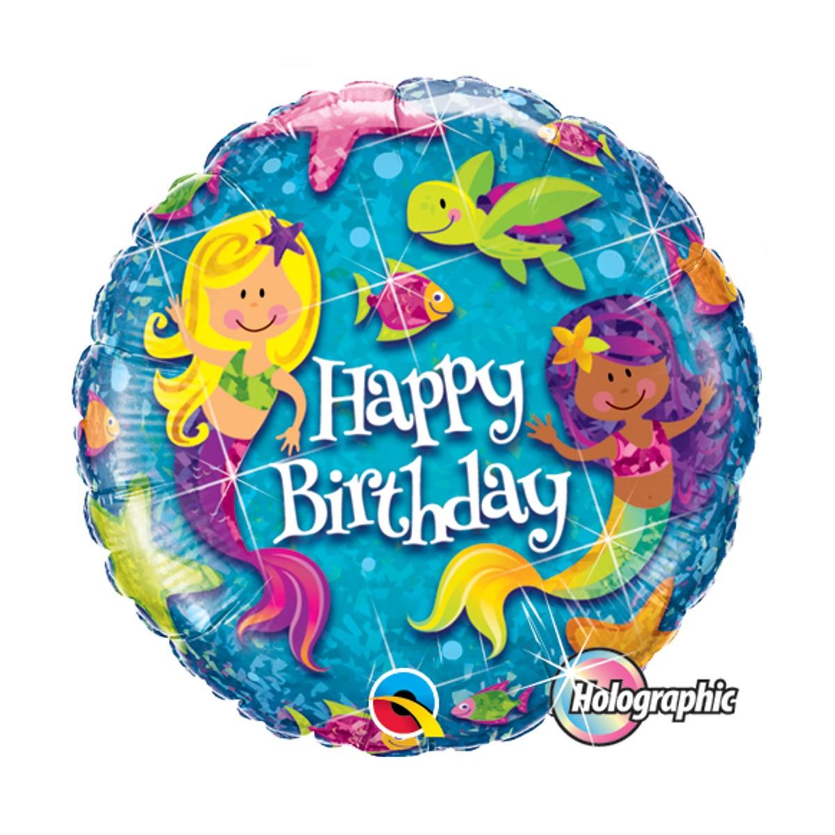 "Helium-Luftballon ""Happy Birthday"" (Meerjungfrauen)"