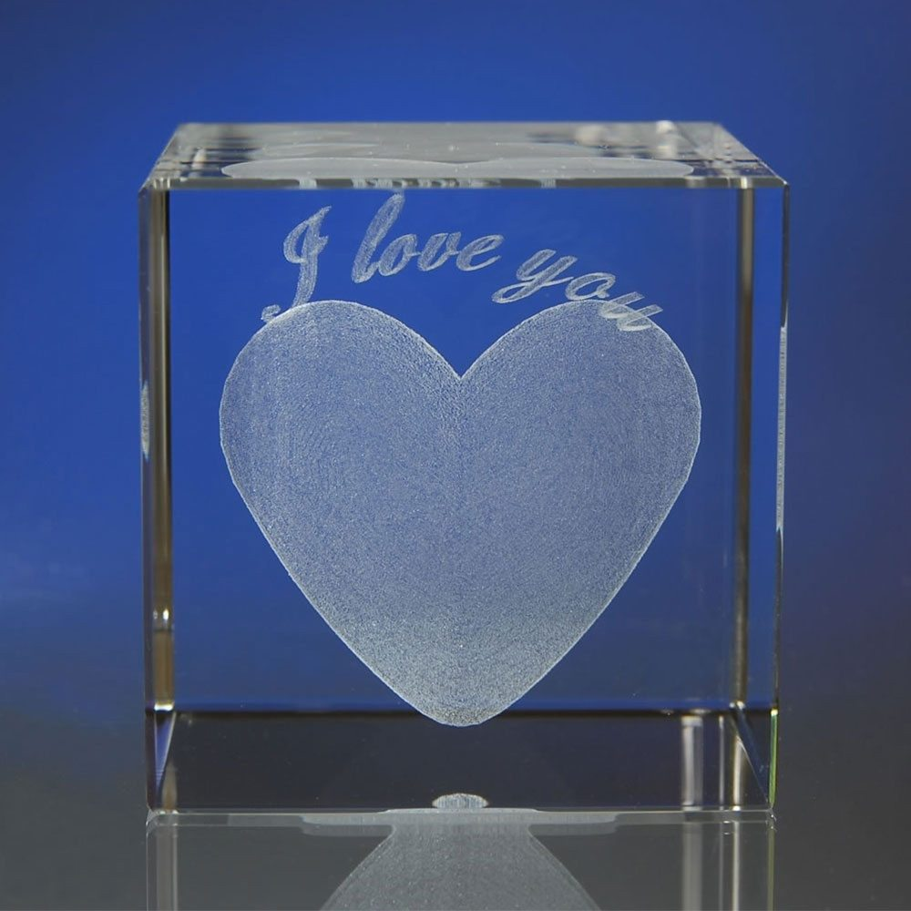 I love you im Glasblock mit individualisierbarem Textfeld