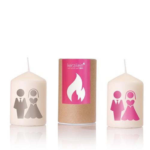 Kerze mit Brautpaar