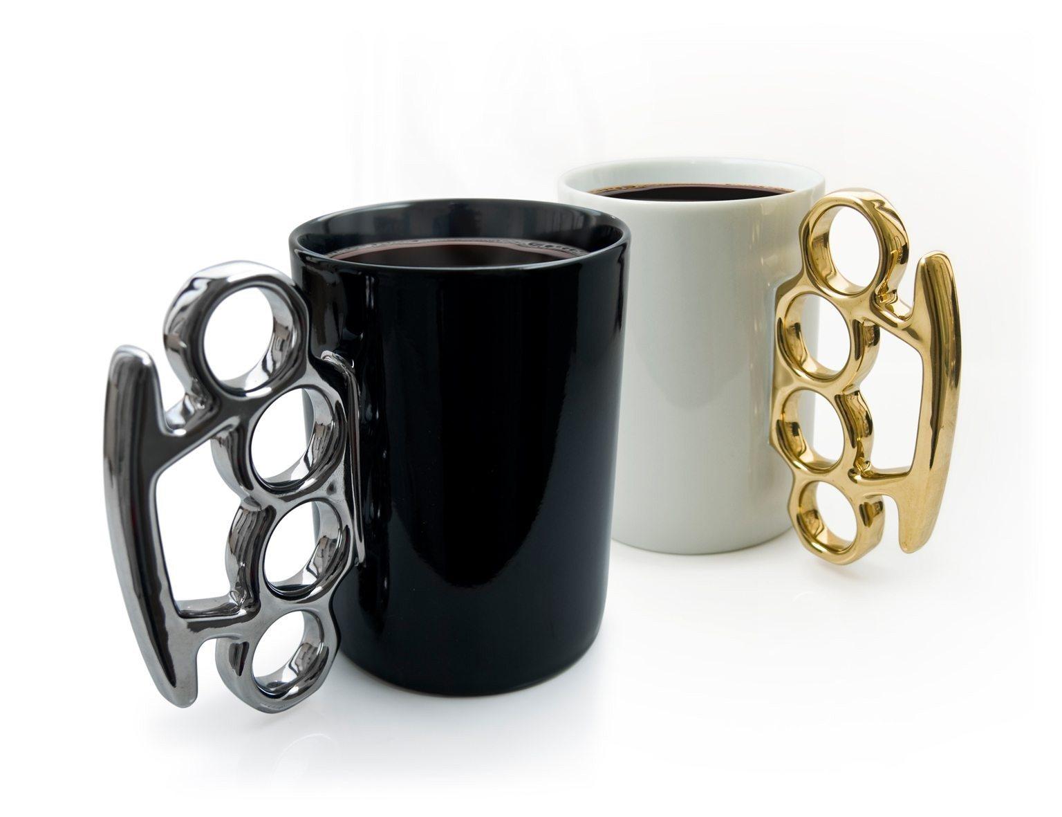 Schlagring Kaffeebecher schwarz/silber