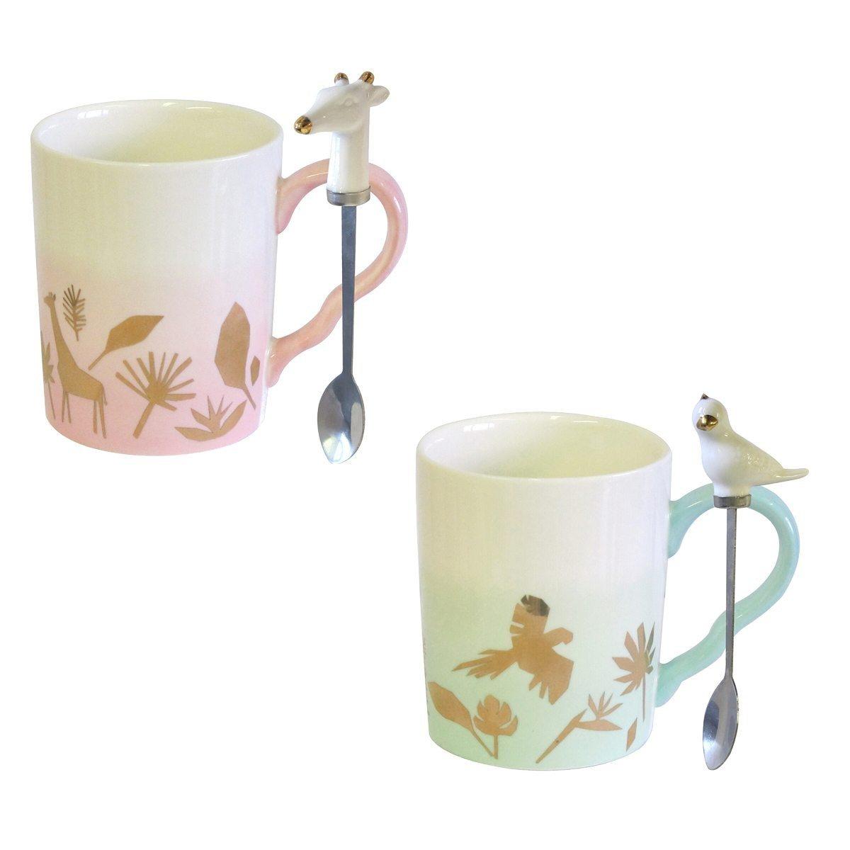 Tasse mit Tierlöffel und Geschenkverpackung