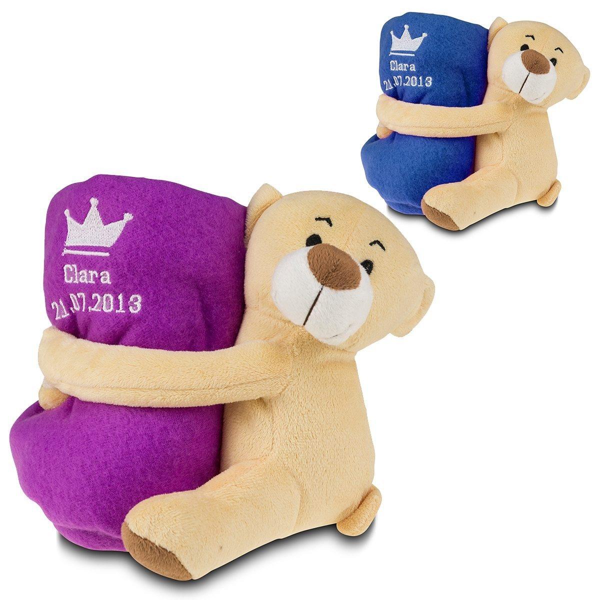 Teddy mit Namensdecke: Geschenkset zur Geburt