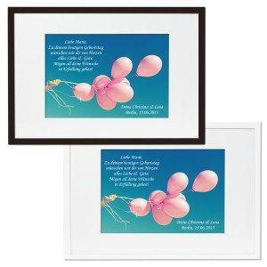 Gerahmtes Bild mit Grußbotschaft - Luftballons