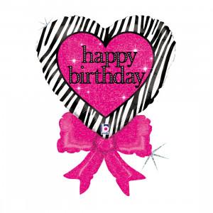 Helium-Luftballon Geburtstags-Herz mit Schleife