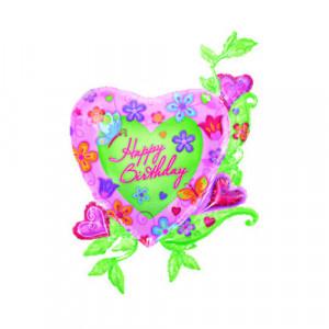 "Helium-Luftballon ""Happy Birthday"" (Blumenherz)"