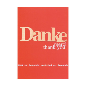 "Karte mit Holztext: ""Danke"""