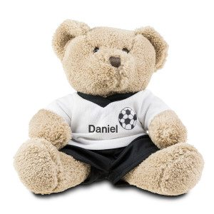 Teddybär mit Fußballtrikot und Namen